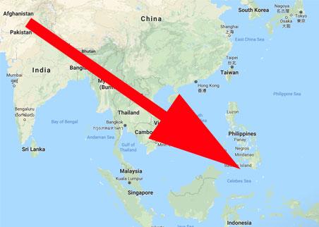 Downward arrow across lower asia.